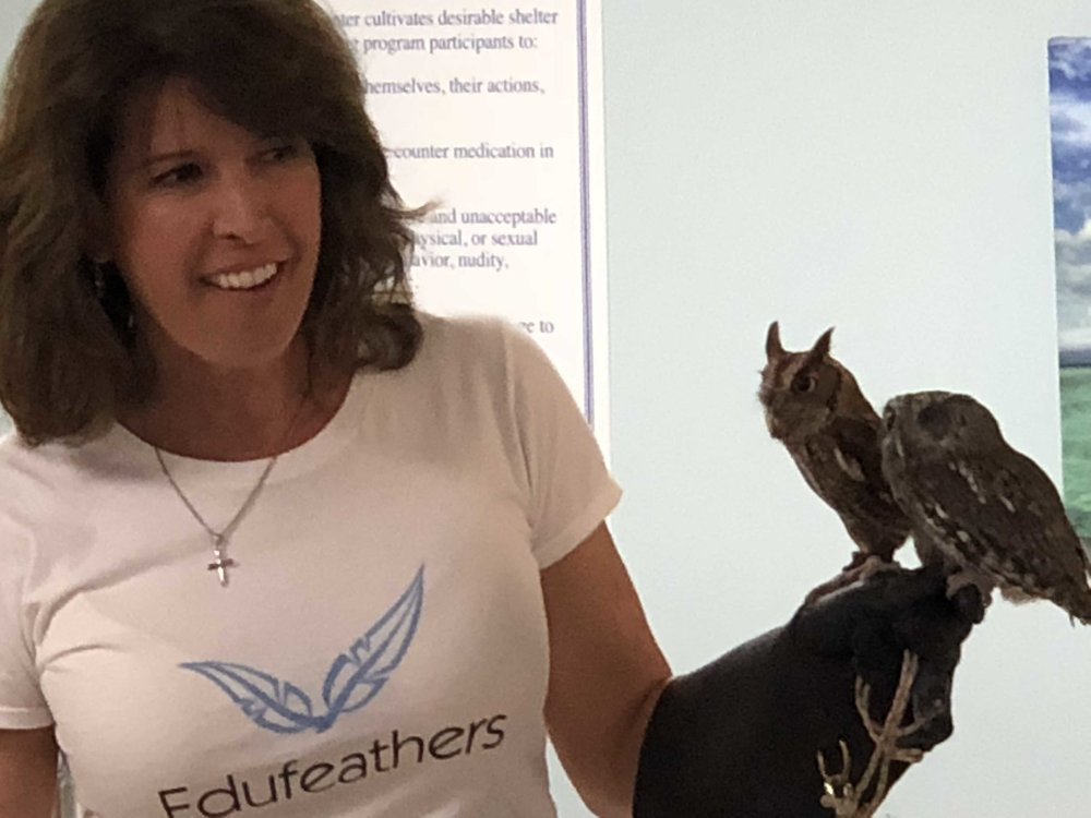 - Birds have been Anne Marie's passion since her childhood in Augusta, Maine, and she currently has her own enterprise called Edufeathers. She provides no-cost wildlife education presentations featuring live, non-releasable birds and animals to nursing homes and ALFs.