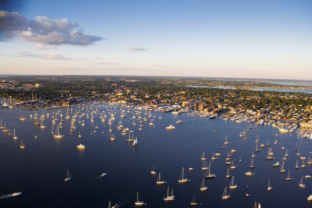 A birds-eye view of Newport Harbor. (Photo Credit Onne van der Wal)