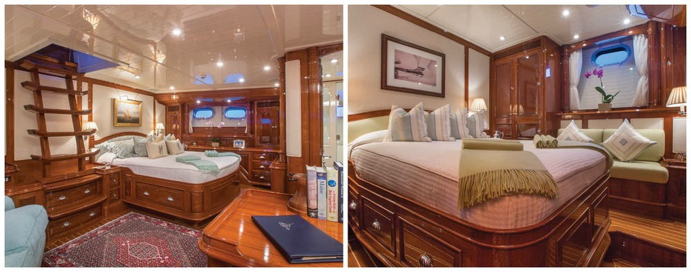 Whisper sleeps six guests comfortably in its three spacious staterooms. The master suite (left) includes an office area and a private companionway.
