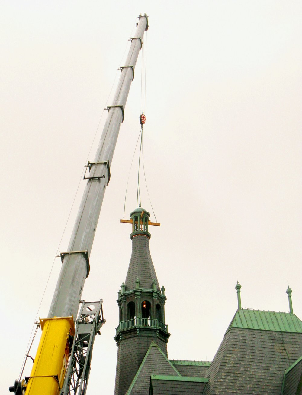 Removal of copper cupola for restoration