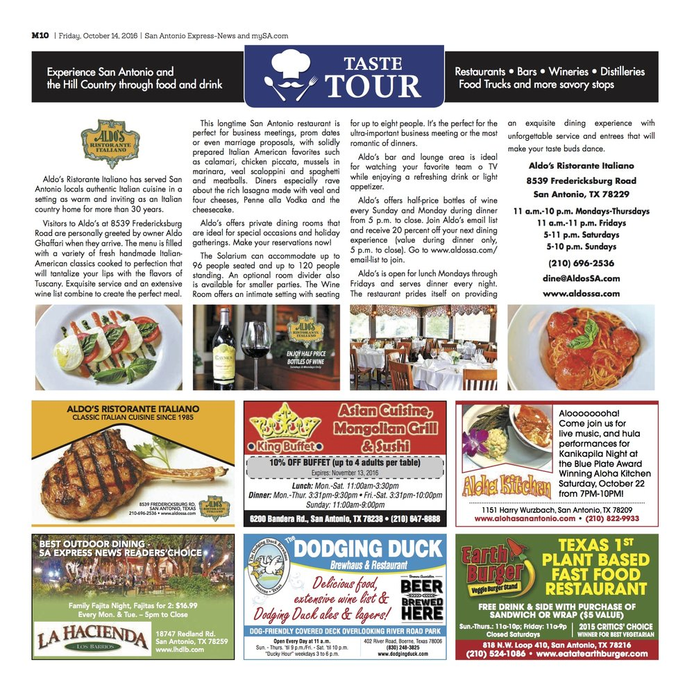 San Antonio Express News Taste Tour — Aldo\'s Ristorante Italiano