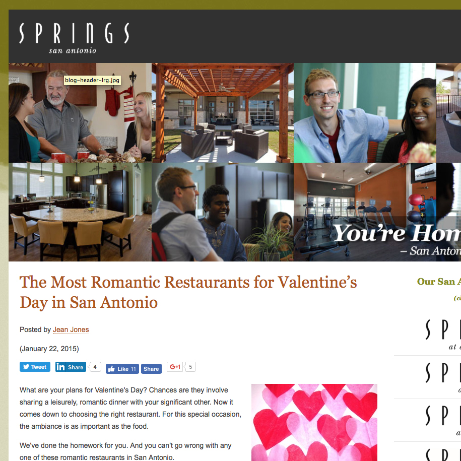 Springs San Antonio Names Aldo's Among Most Romantic Restaurants for Valentine's Day