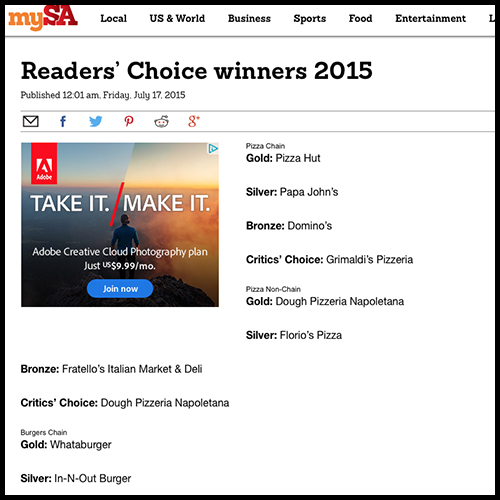 San Antonio Express News: Aldo's Voted 2015 Readers' Choice for Longtime Favorite Restaurant