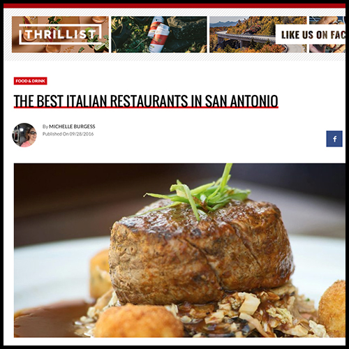 Thrillist Names Aldo's Among San Antonio's Best Italian Restaurants