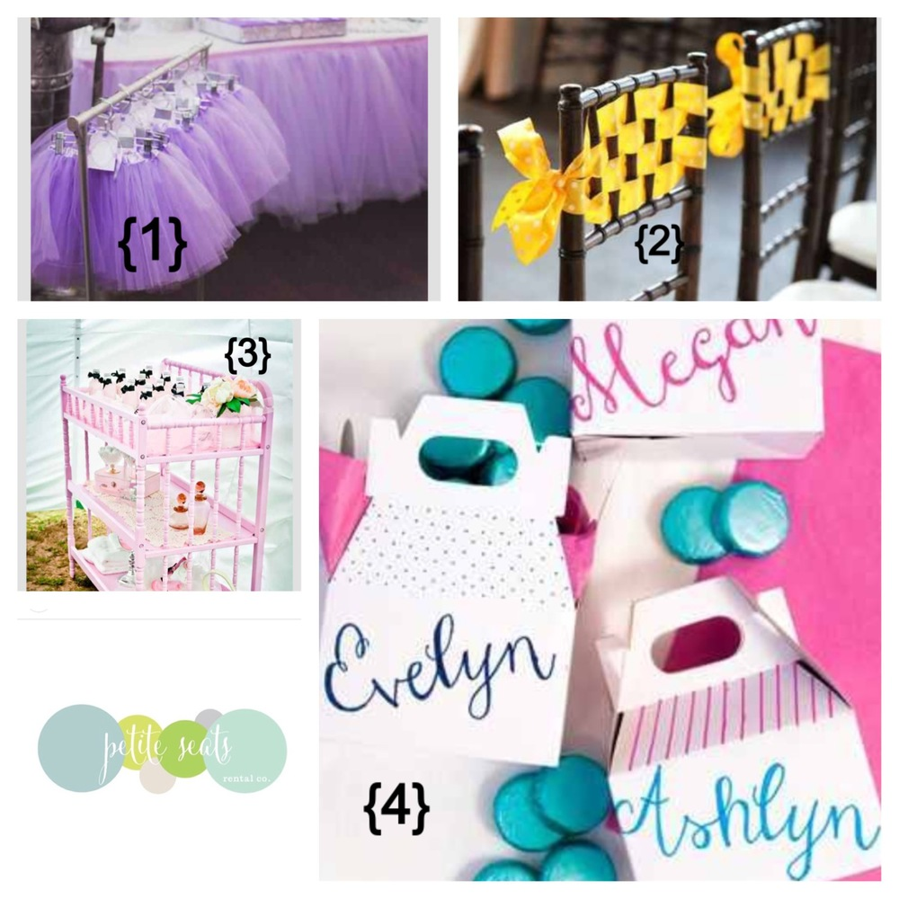 {1}  Purple Princess   {2}  Ribbon Chair   {3}  Upcycle Changing Station   {4}  DIY Favor Boxes from Confetti Pop