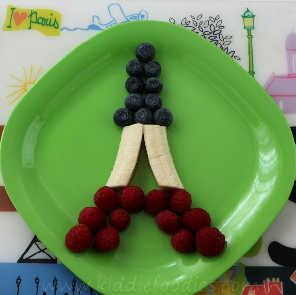 Edible Eiffel Tower -- Raspberries, Banana, and Blueberry