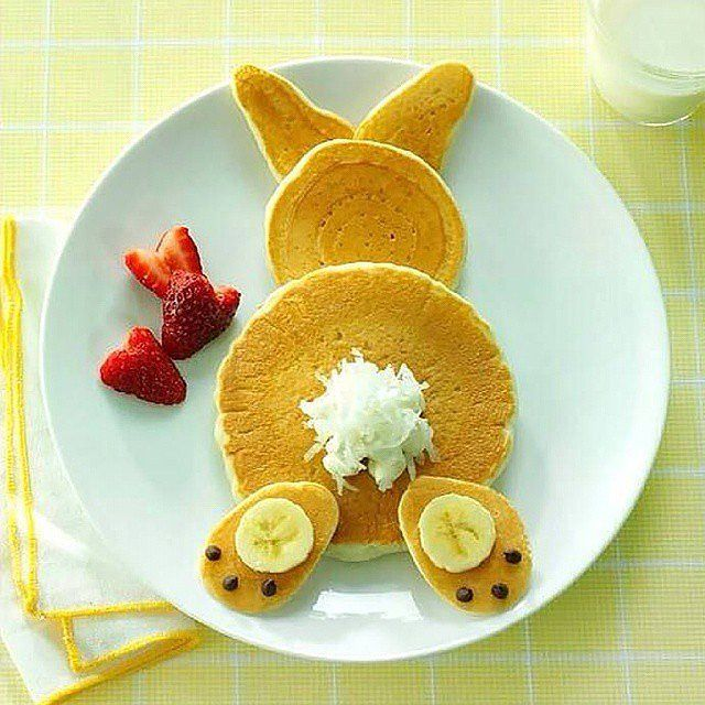 Bunny Pancakes with Chocolate Chips, Banana, Shredded Coconut, and Strawberry