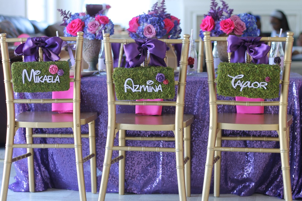 The purple sequin table cloth just took this tablescape from fabulous to over-the-top.