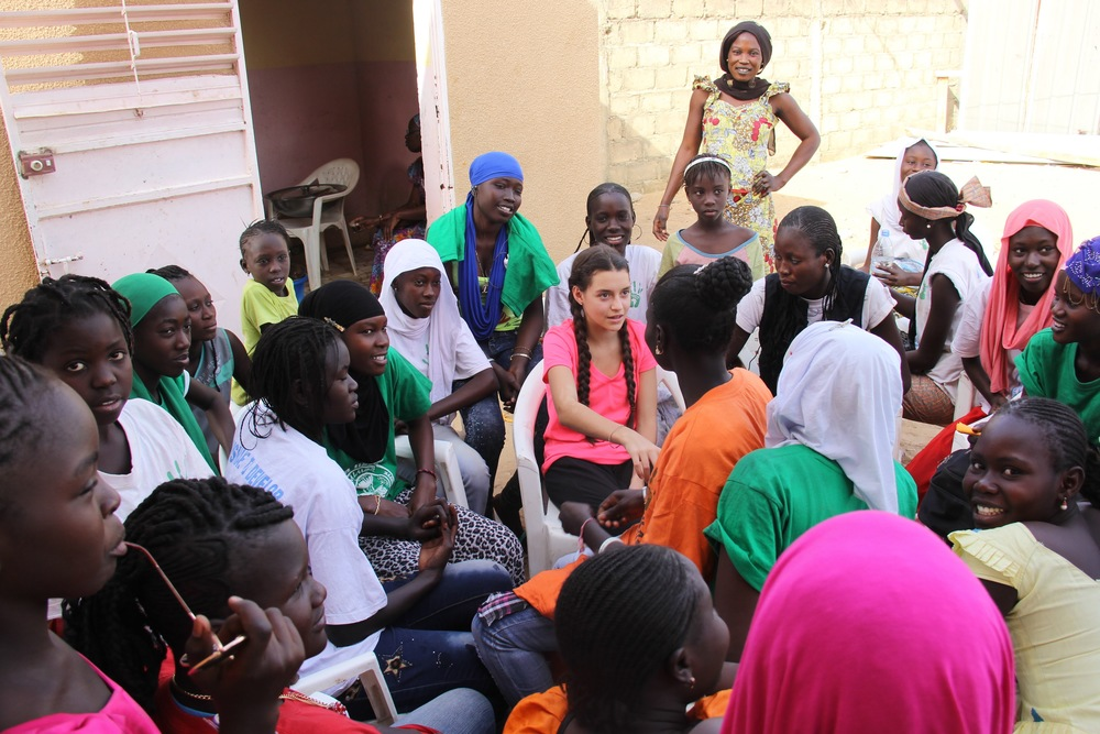 Mira Goodman getting to know some of the female students in the village.