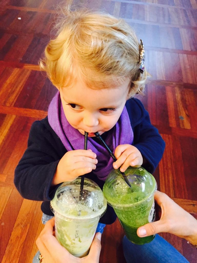 Mila with 2 juices in Copenhagen