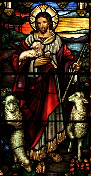 Jesus depicted as the Good Shepherd (stained glass at St John's Ashfield)