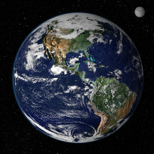 Earth from space, NASA image based on combination of data from two satellites.