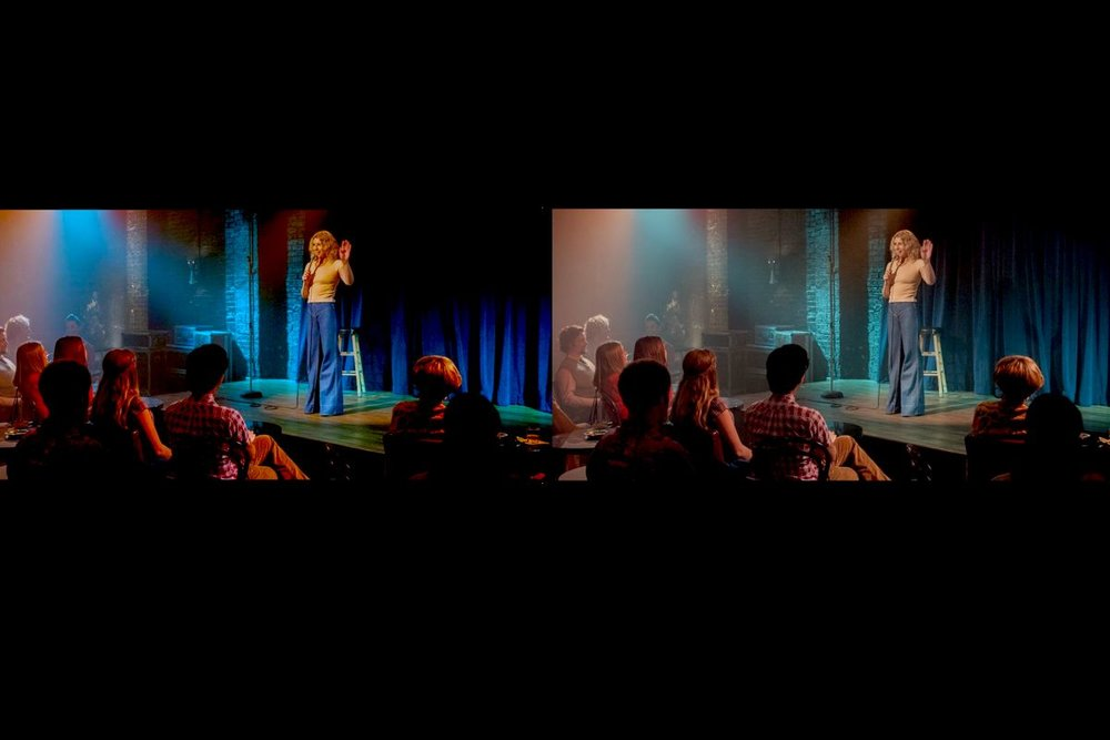 Aspect & Color - 1:2.39 Ratio (Cinema Scope) will give the show a documentary filmic look that makes it stand out from other stand up comedy shows. The Low Saturation, Low Contrast, Colder Look will enhance the cinematic approach and gives it a less polished less glossy feel.