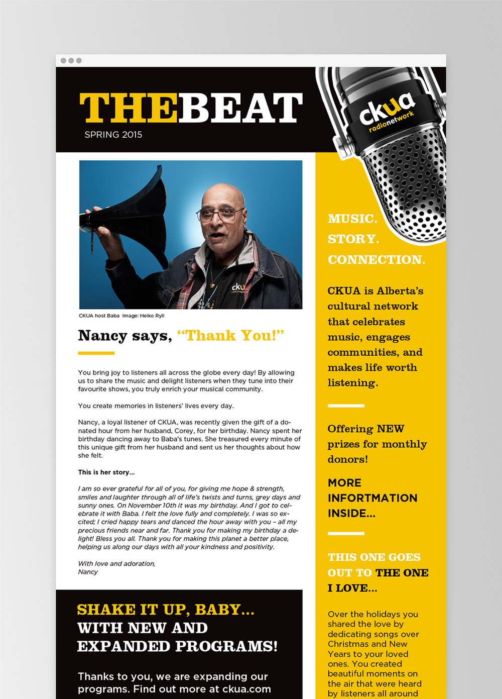 Example of the e-newsletter template.