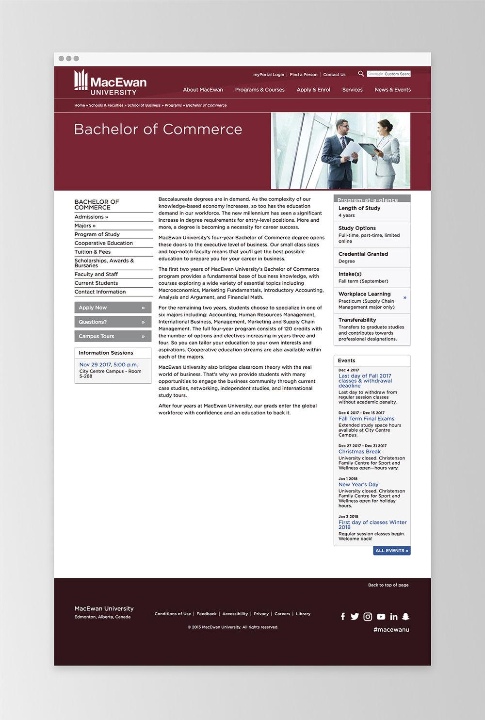 An example of the old MacEwan site template | MacEwan.ca/Commerce