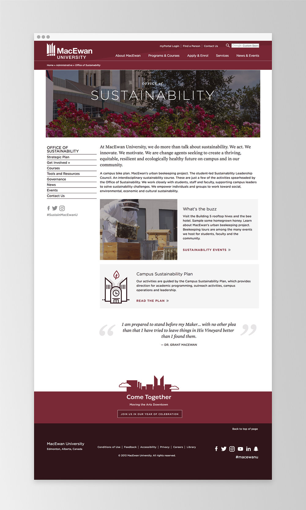 An example of a site using the new template design | MacEwan.ca/Sustainability