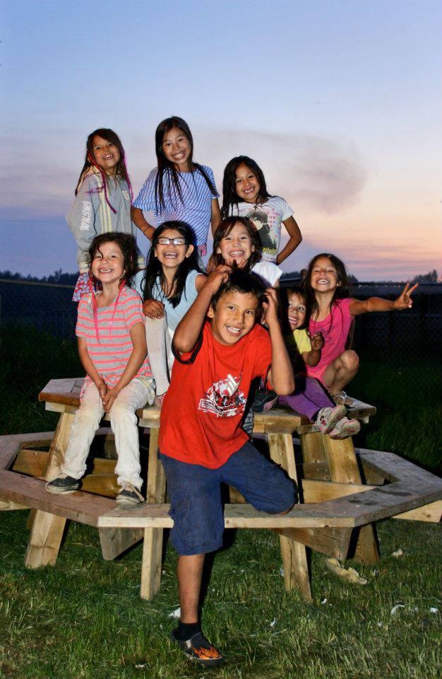 Children at the Lubicon Cree First Nation village of Little Buffalo