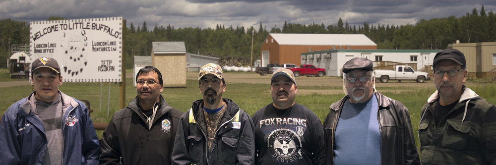 From left to right: Troy Laboucan, Brian Laboucan, Timothy Sawan, Jason Laboucan, Joe Auger. Chief Billy Joe Laboucan