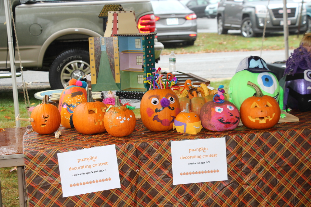 Entrants to the pumpkin decorating contest at the 2014 Ashby Pumpkin Festival.