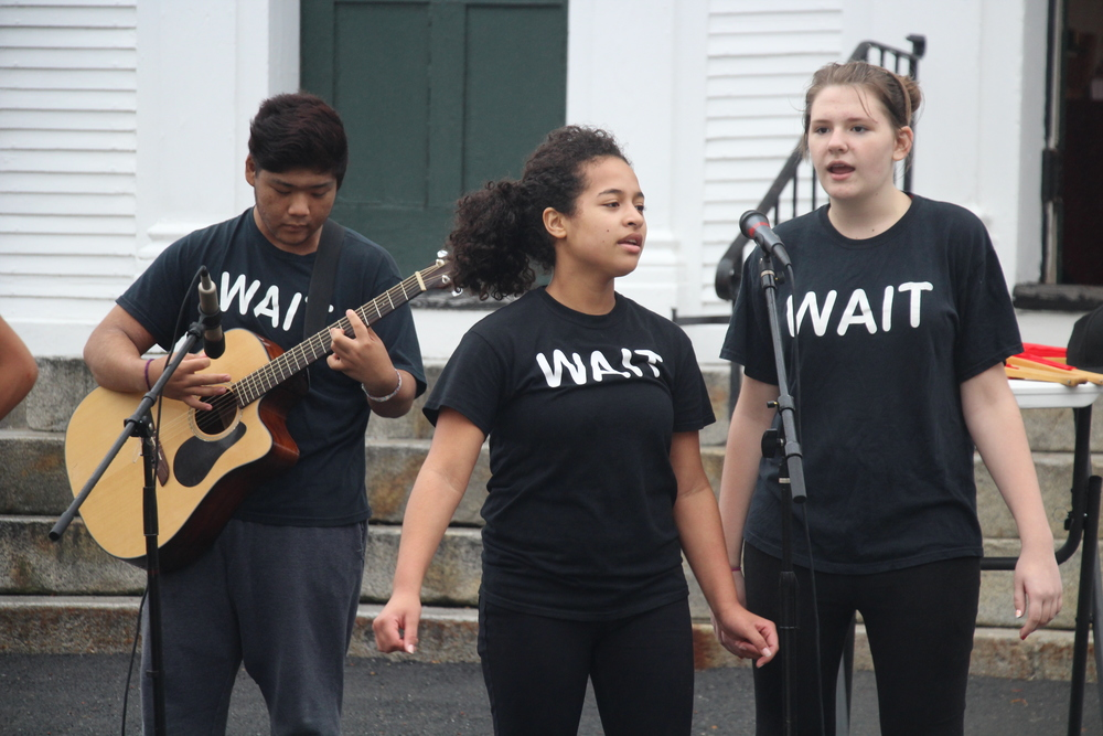 "Paul Takahasi (left), Karlene Suncar (center) and Jessica Hill (right) performing ""Wait For Me."""