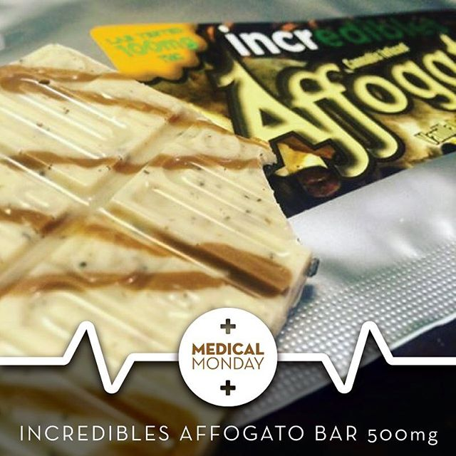 Medical Monday: @iloveincredibles Affogotto Bars. Chocolate Latte, Espresso Beans, & Caramel Swirl infused with 500mg of THC!