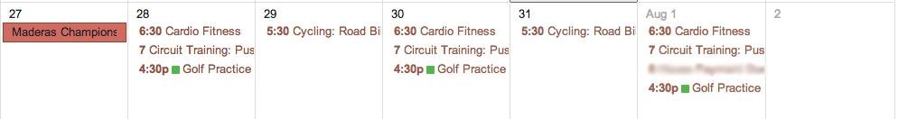 Fitness and Golf Calendar