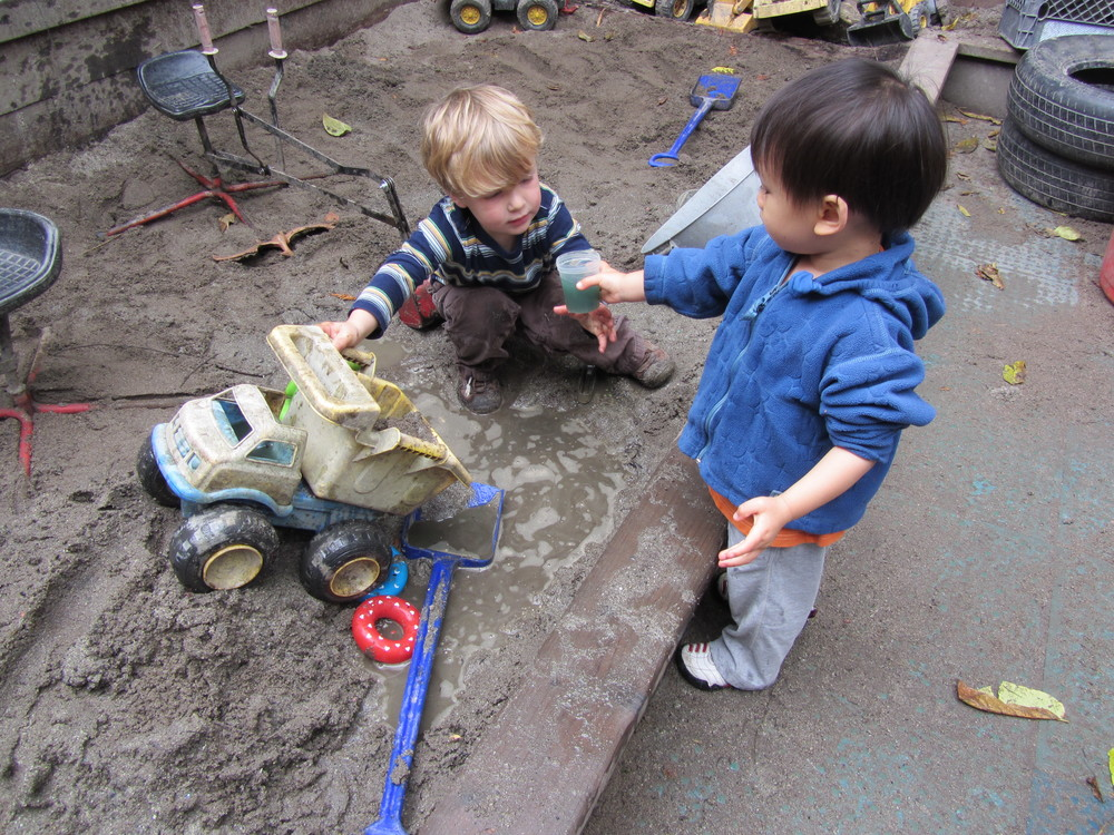 Sand and water are essential resources for young children. Children can explore and invent with these open-ended materials, doing hard work while also enjoying a sensory experience.