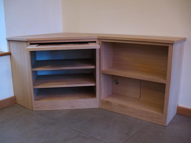 Oak corner media unit - bespoke handmade living furniture