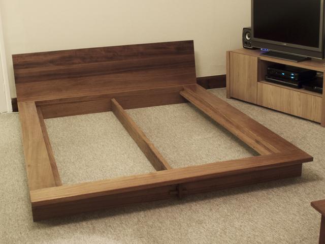 Iroko platform bed bespoke handmade bedroom furniture brighton sussex tekton carpentry - Japanese bed frame designs ...