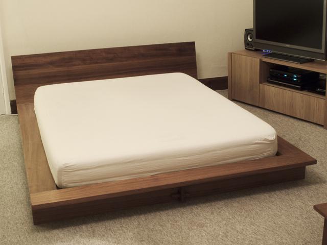 Hand Made Beds ~ Iroko platform bed bespoke handmade bedroom furniture