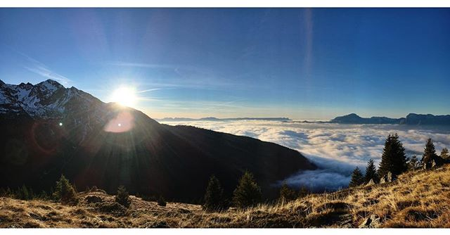 Today's hike view. Sea of clouds au jas du lièvre. #alps #france #hikling #sunset
