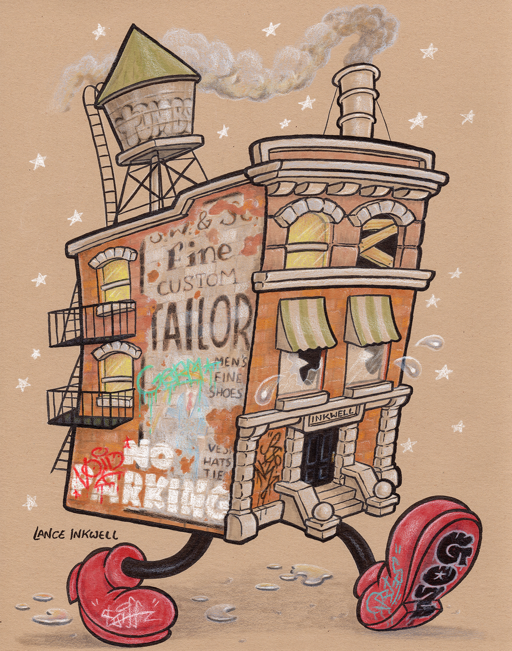 """""""Building Emotional Resilience"""" - 11""""x14"""" Ink, Marker, and Color Pencil on Toned Paper.  SOLD"""