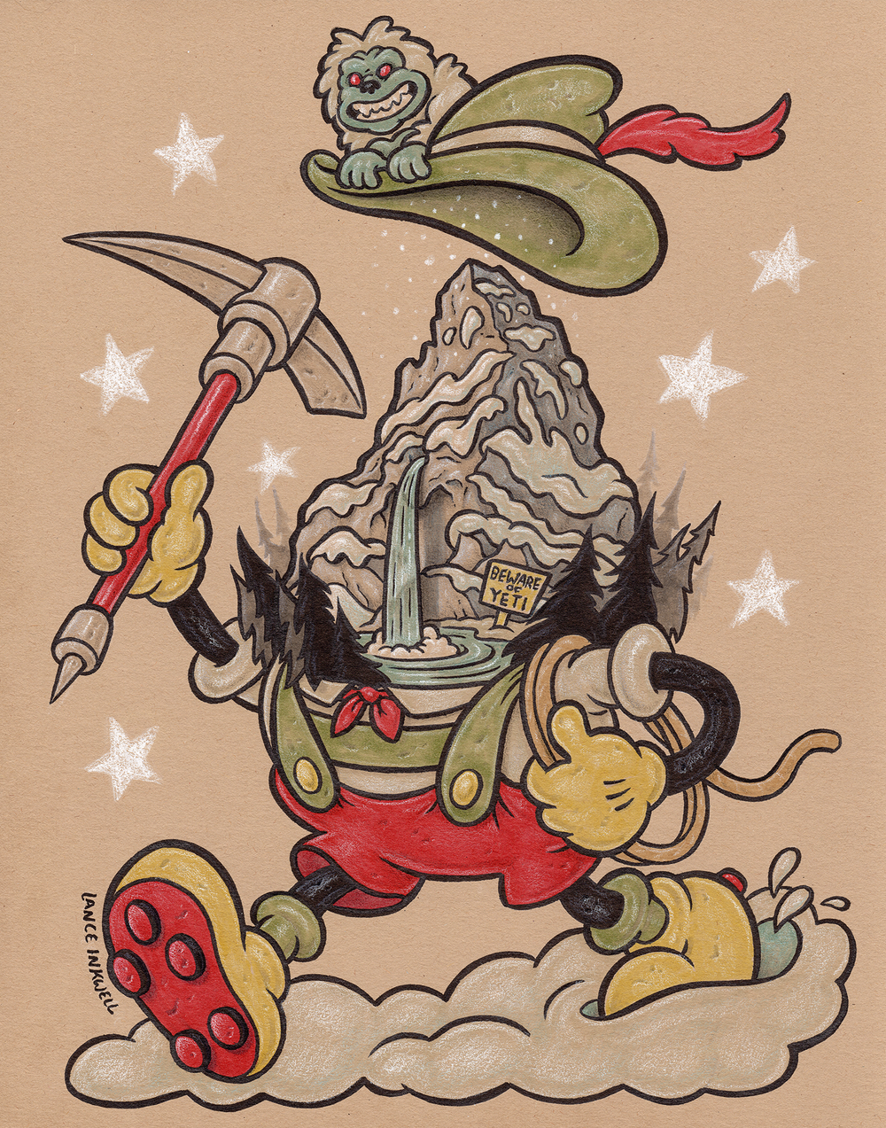 """""""Matterhorn Mountain Climber"""" -11""""x14"""" Ink, Marker, and Color Pencil on Toned Paper. $200  Call Abstract Denver to purchase- 1 (720) 937-9722"""
