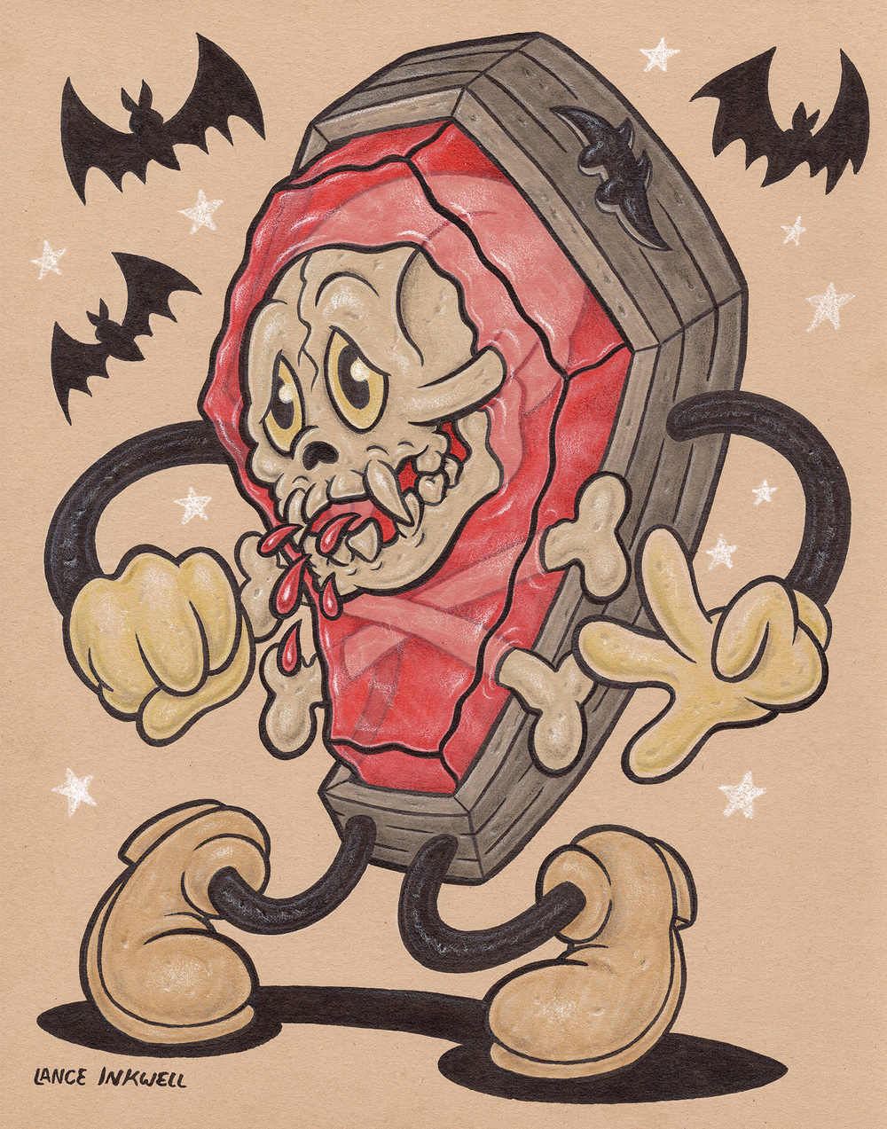 """""""Coffin Blood"""" -11""""x14"""" Ink, Marker, and Color Pencil on Toned Paper. $200  Call Abstract Denver to purchase- 1 (720) 937-9722"""