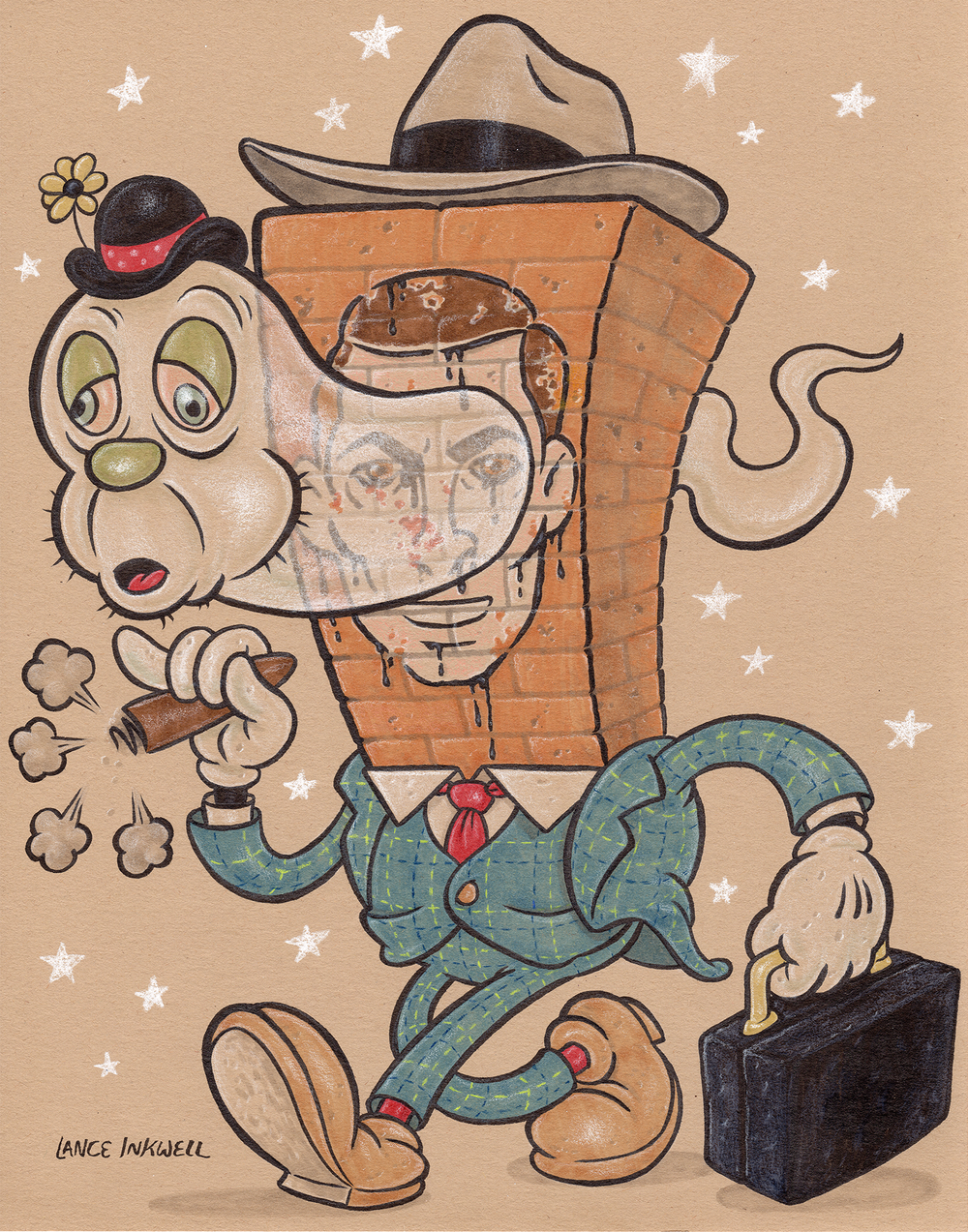 """""""No One Is Who You Think They Are- Including You"""" -11""""x14"""" Ink, Marker, and Color Pencil on Toned Paper.  SOLD"""