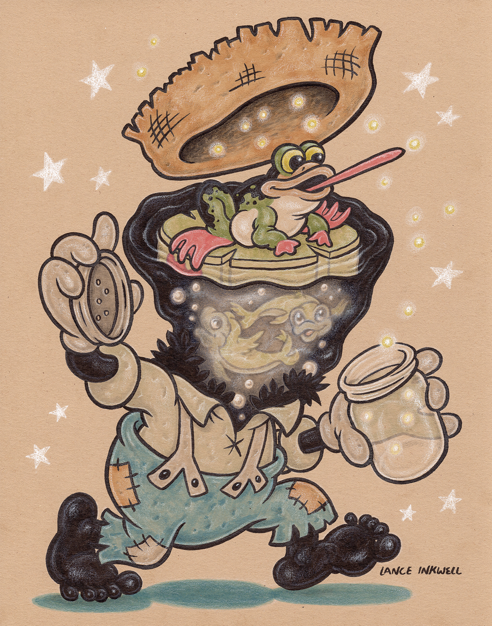 """Catching Fireflies"" - 11""x14"" Ink, Marker, and Color Pencil on Toned Paper.  SOLD"