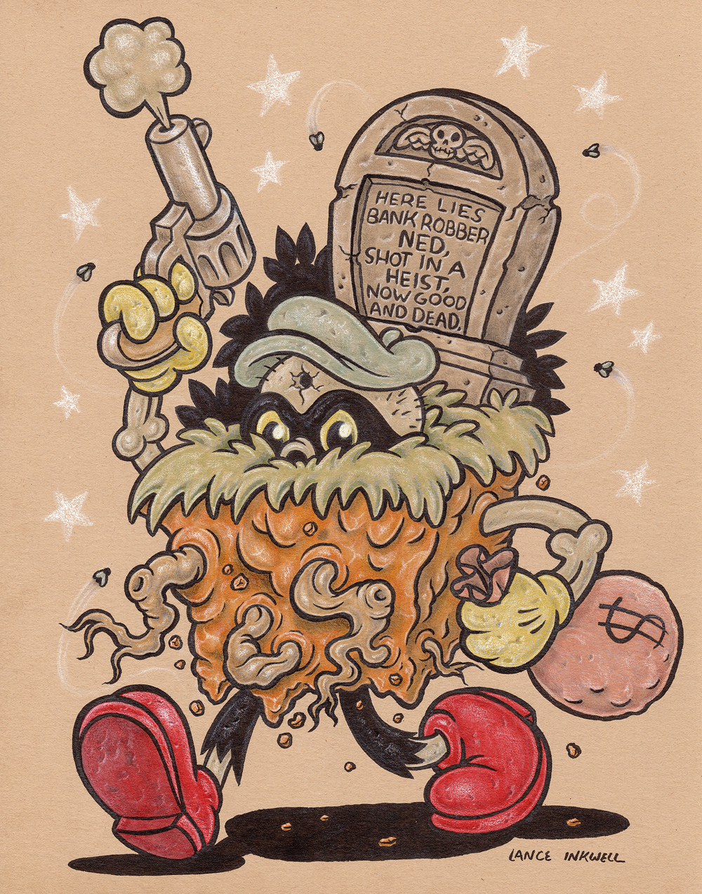 """""""Bank Robber to Grave Robber"""" -11""""x14"""" Ink, Marker, and Color Pencil on Toned Paper. $200  Call Abstract Denver to purchase- 1 (720) 937-9722"""