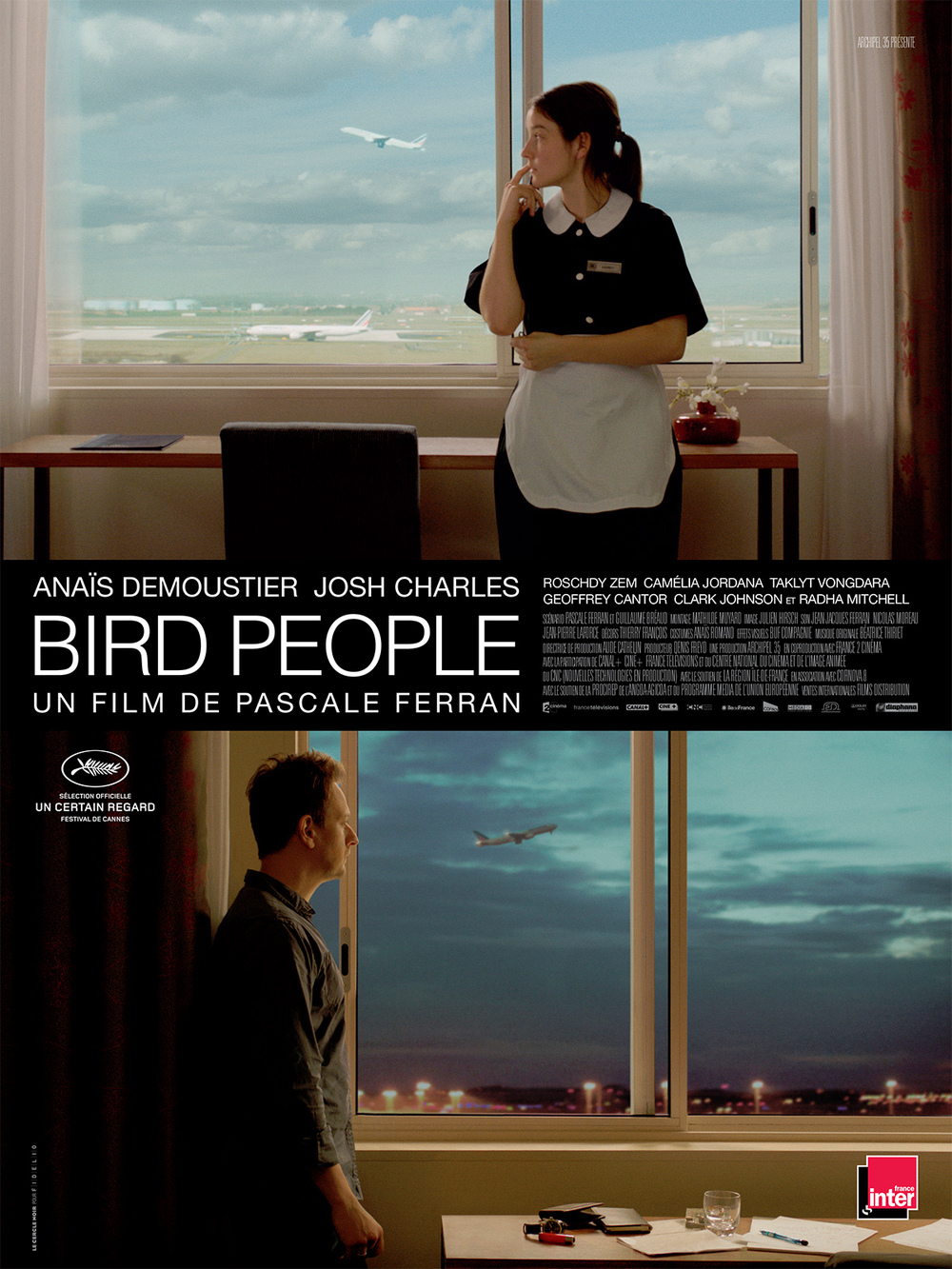 Bird People (2014). Director: Pascale Ferran. Starring: Josh Charles, Anaïs Demoustier, and Roschdy Zem.  Atlantic Pictures Production Services, New York. NYC.  Production Management  Post-Production Supervision  Casting  Budget and Schedule Preparation  Location Scouting  Negotiating union and guild agreements  Negotiating vendor agreements including production equipment, studio rentals and post-production facilities  Hiring crews and production personnel