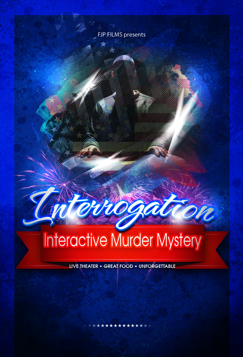 Interrogation is an interactive dinner theatre show that puts you right in the middle of a campaign war between two worthy candidates.  Something goes wrong and it is up to you and your team to figure out who did it!