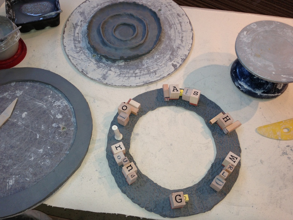 The makings of a personalized Lazy Susan in process.