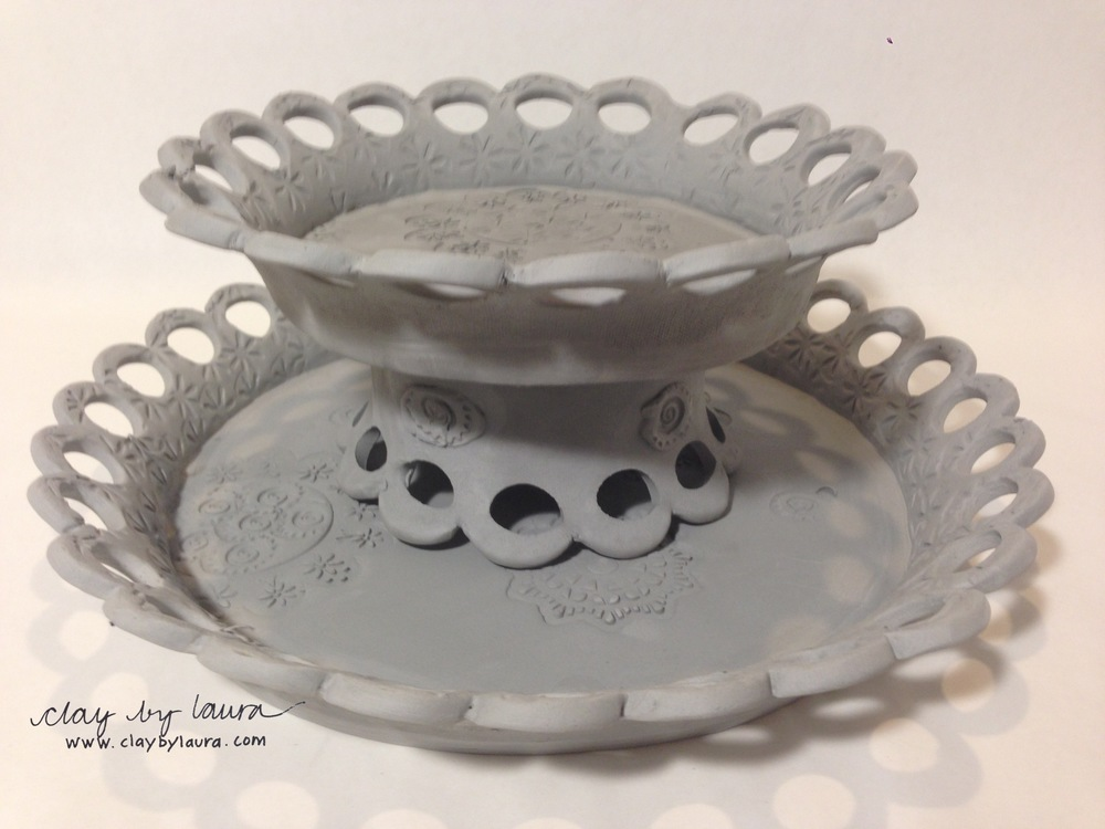 Lucky for me, I have friends with great ideas! In this new rendition of my hand-built cake plate, I've separated and added pieces to include a bowl that can also be used as a stand and an additional smaller plate that can be stacked vertically!