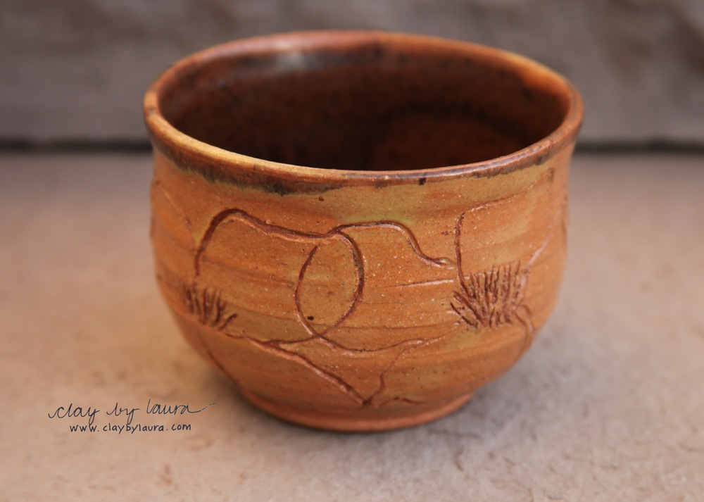 Clay surface was also important in 1974. I etched these flowers on a wheel-thrown bowl to add some interest.