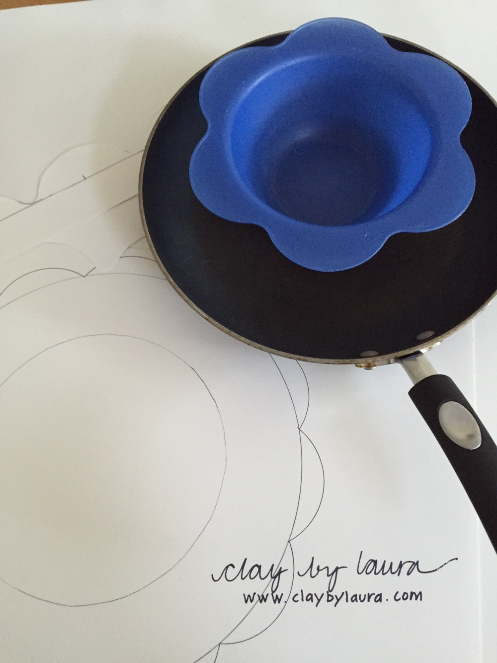 When I'm away from my studio and tools, it gives me an opportunity to look around my current environment and develop ideas with items that are on hand. Here, I've created a new template for some shapes I'll be working on using a frying pan and bowl.