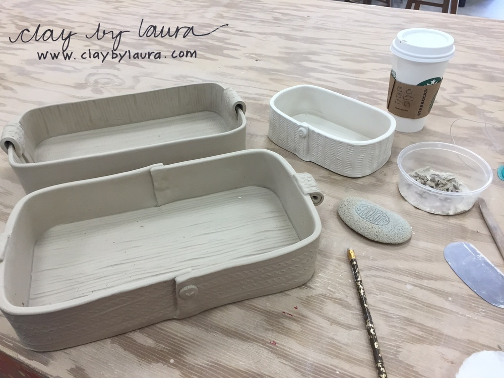 The clay I'm using is different from what I use in my own studio. It feels flimsier to the touch and fires to a different temperature than what I use in my studio. The color choices and glazes will be different too. I'll post pictures when I reach that stage. I'm playing with some baking dish shapes and sizes.
