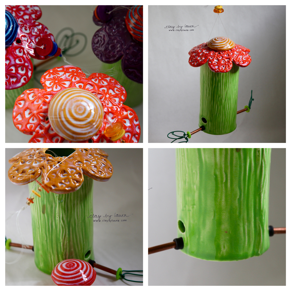 Flower-shaped Bird Feeders  are complete and now listed for sale on the Purchase page of ClaybyLaura! Buy one before Mother's Day (May 10, 2015) and shipping is FREE! Enter code MOMMY to receive this offer.