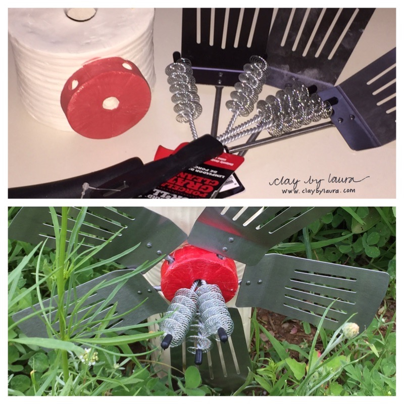 I had fun repurposing these grill utensils in to a flower shape for a BBQ-themed totem for the project.