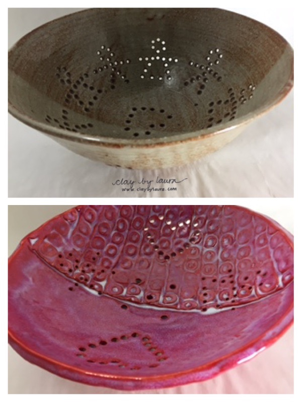 The adaptation of my wheel-thrown colander to a hand-built version is still a work in progress. The original was created in 1994. Next time I'll back off on the texture and middle seam and let the boy/girl hole cutouts remain the pot's feature.