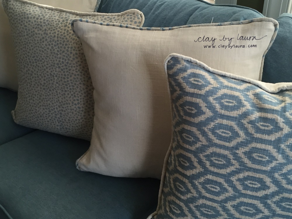 This week I pulled out the sewing machine and made pillows for a birthday gift. It's good to change gears every once in awhile and create something with different 'materials!'