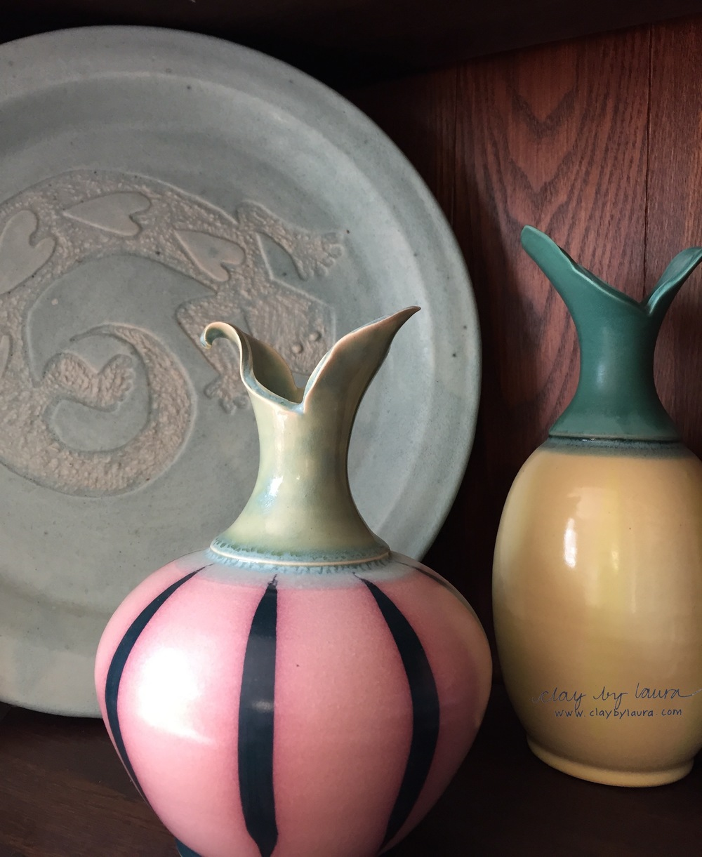 My pottery collection includes pieces like the carved platter I made in 1993 and interesting shapes and glazes of other clay artists I like.