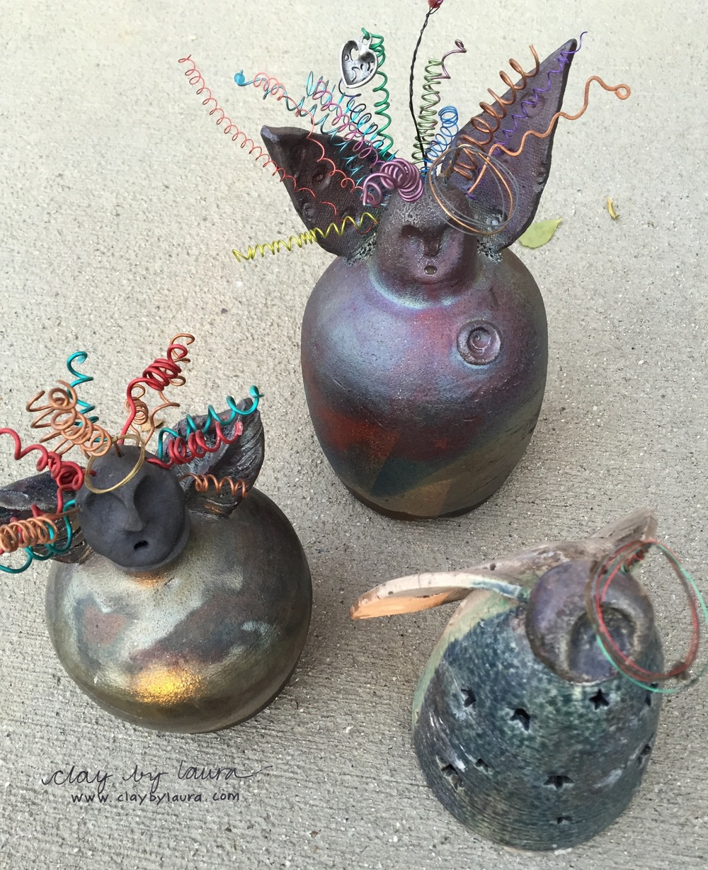 I used the Raku method of firing to create these angels over the years. It was the start of my multi-media approach to clay. The first year I made these I used actual springs from the hardware store to create the hair. Then I discovered colorful wire and beads! Look out!!!